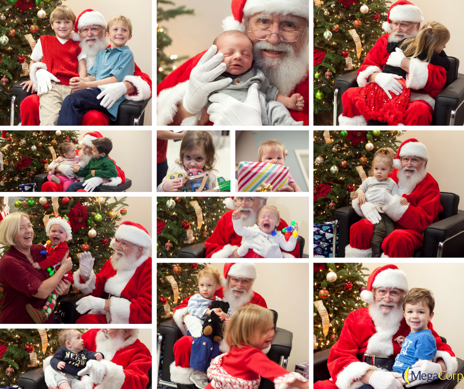 A collage of eleven photos of different children sitting with Santa. Some of the children are excited to see Santa, one girl even giving him a hug. A few of them are crying and trying to get away from Santa.