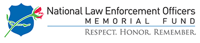 "A logo for the National Law Enforcement Officers Memorial fund, which contains a graphic of a wilted rose over the silhouette of an officer's badge. Underneath the fund's name it reads, ""Respect. Honor. Remember."""