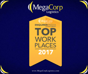 MegaCorp Logistics: Enquirer Media's Top Work Places of 2017.