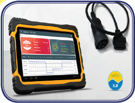 An ELD (Electronic Logging Device) - a thick tablet with graphs and stats on the screen.