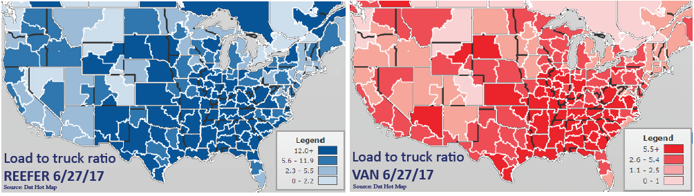 Two heatmaps of the continental United States and Southern Canada representing Load to Truck ratio for Reefer and Van.