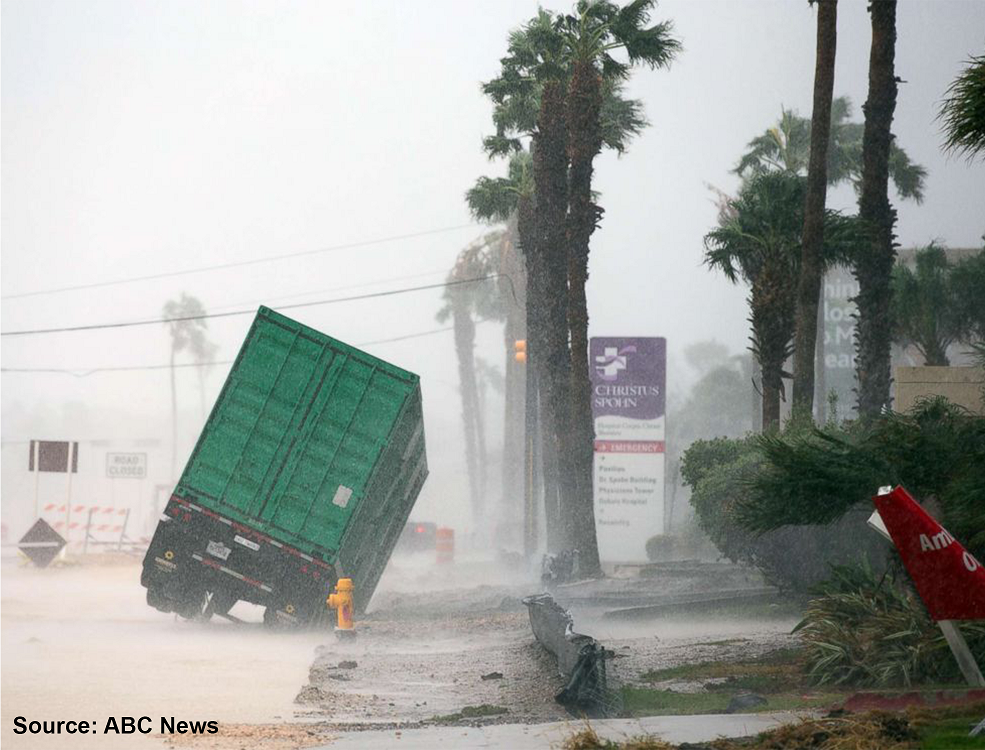 "A green truck being blown over onto its side on a muddy road during a storm. The rain is hindering the view of ""Road Closed"" signs and palm trees blowing in the high speed winds."