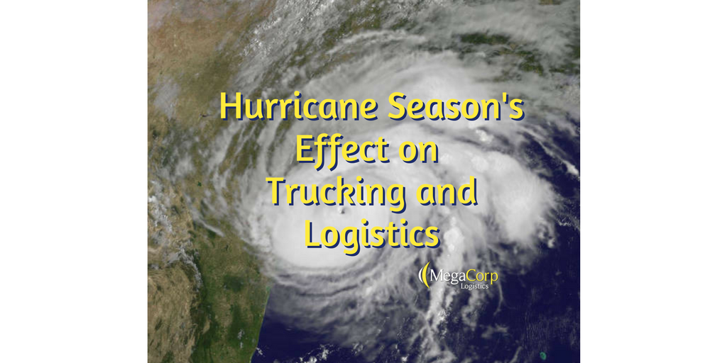 """Hurricane Season's Effect on Trucking and Logistics"" printed over a spiralling storm from satellite view."