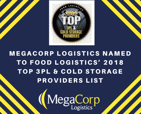 MegaCorp Logistics named to Food Logistics' 2018 Top 3PL & cold storage providers list.