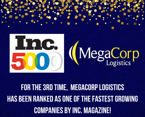For the 3rd time, MegaCorp Logistics has been ranked as one of the fastest growing companies by Inc. Magazine