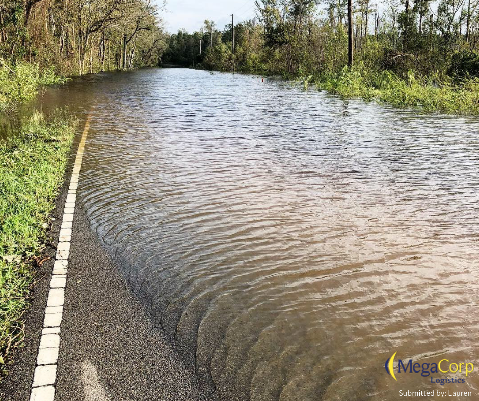 A road that has been completely submerged.