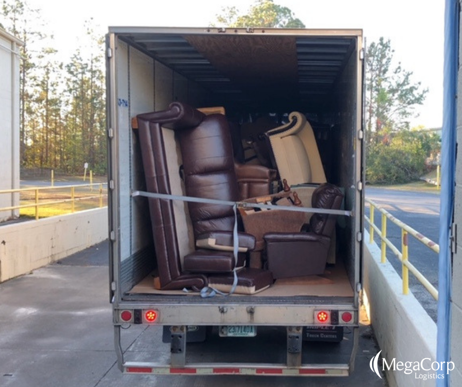 back of a truck filled with furniture