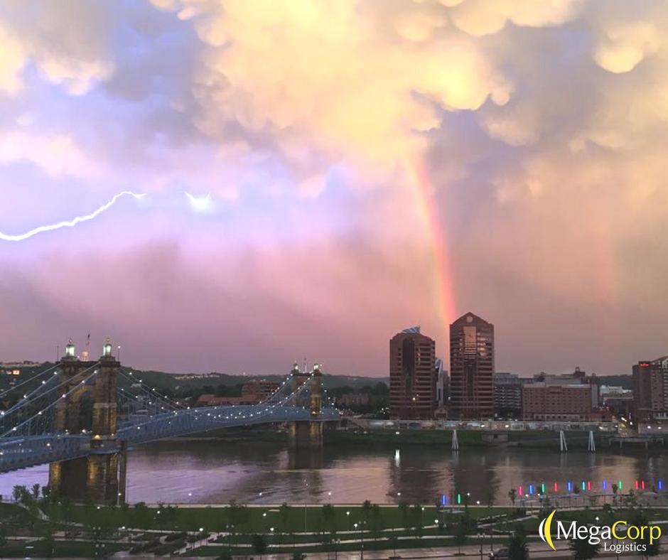 lightening and a rainbow caught outside the Cincinnati MegaCorp office window