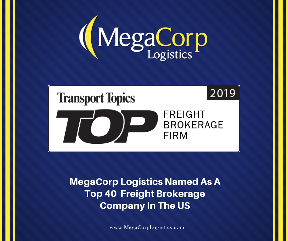 MegaCorp Logistics named as a top 40 freight brokerage company in the US