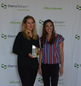Marketing Director, Katie Braskett and Marketing Assistant, Jade Watts accepted the award for MegaCorp Logistics